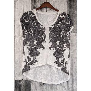 LADIES ROUND NECK ROPER T-SHIRT BLACK / WHITE