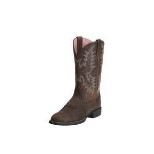 LADIES ARIAT COWBOY BOOTS HERITAGE STOCKMAN DRIFTWOOD BROWN